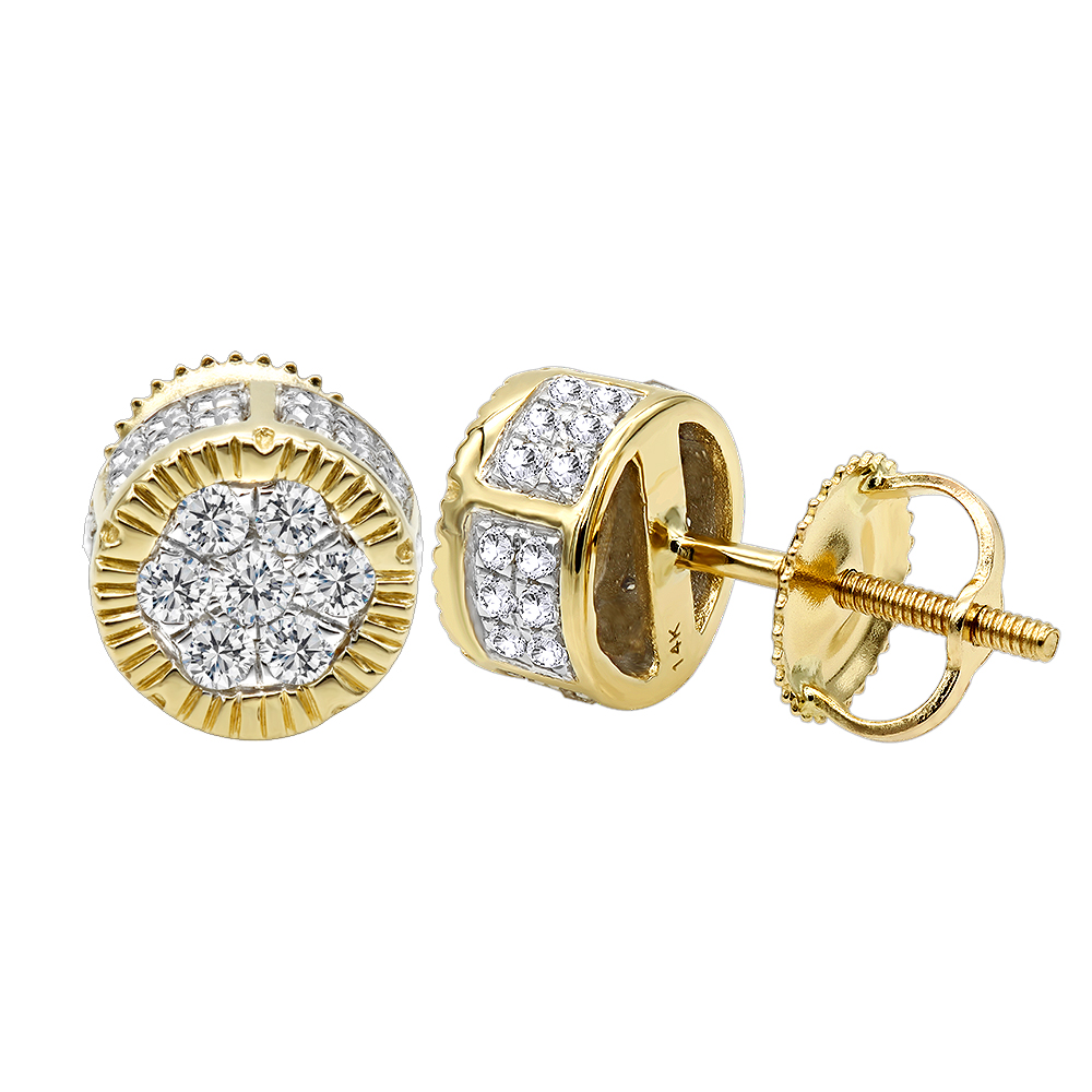 6d1fb80d0c63b 14K Solid Gold 2 Carat Look Diamond Stud Earrings 0.5ct Clusters Luxurman
