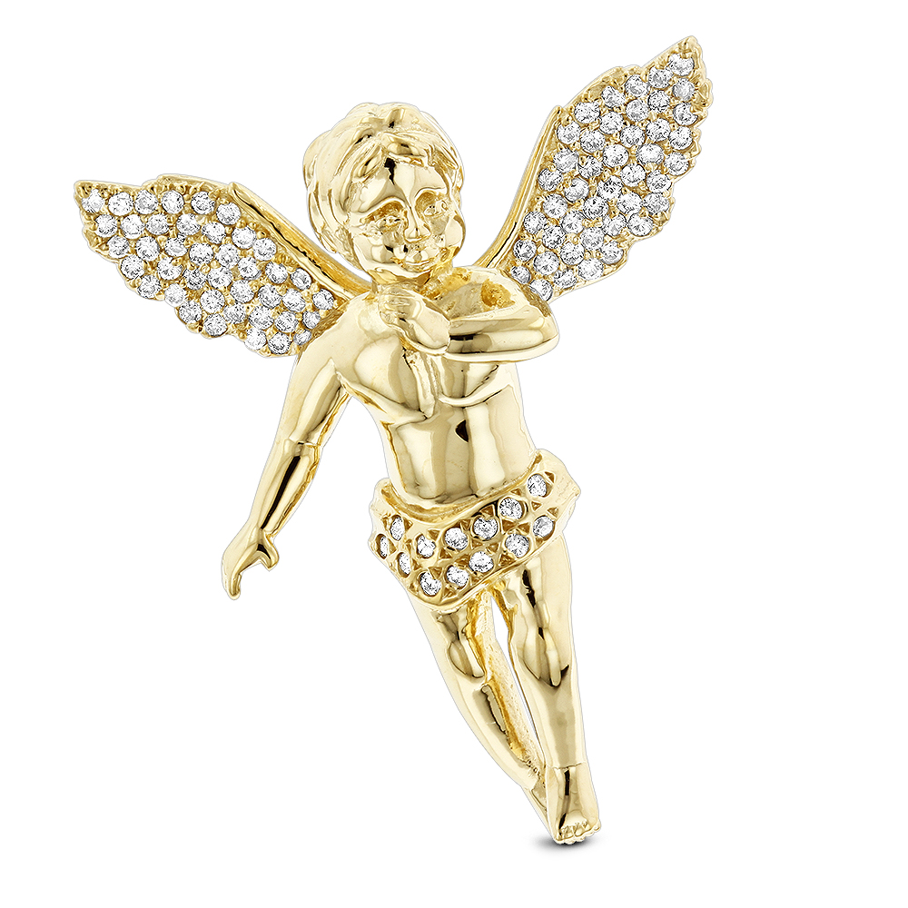 14K Solid Gold Diamond Angel Pendant 0.63ct Small Baby Angel Charm Yellow Image
