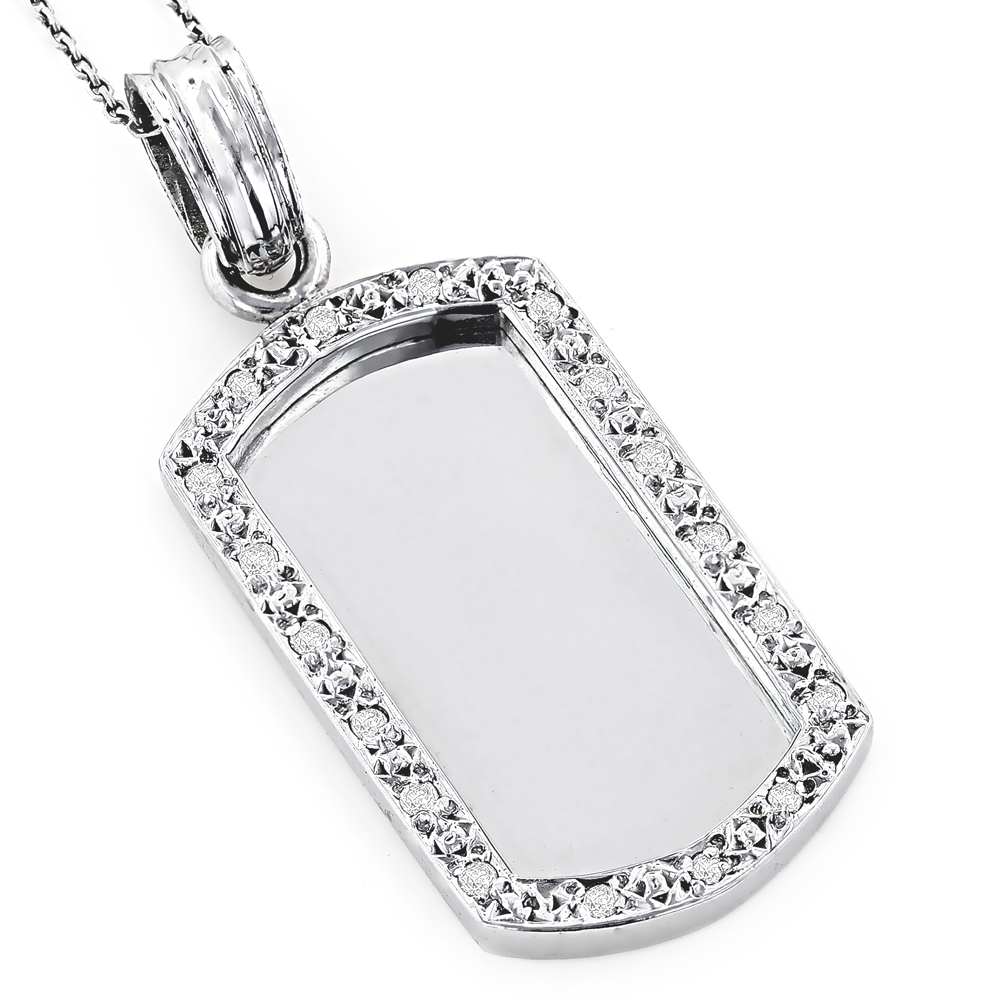 14K Solid Gold Diamond Dog Tag Pendant 0.22ct White Image
