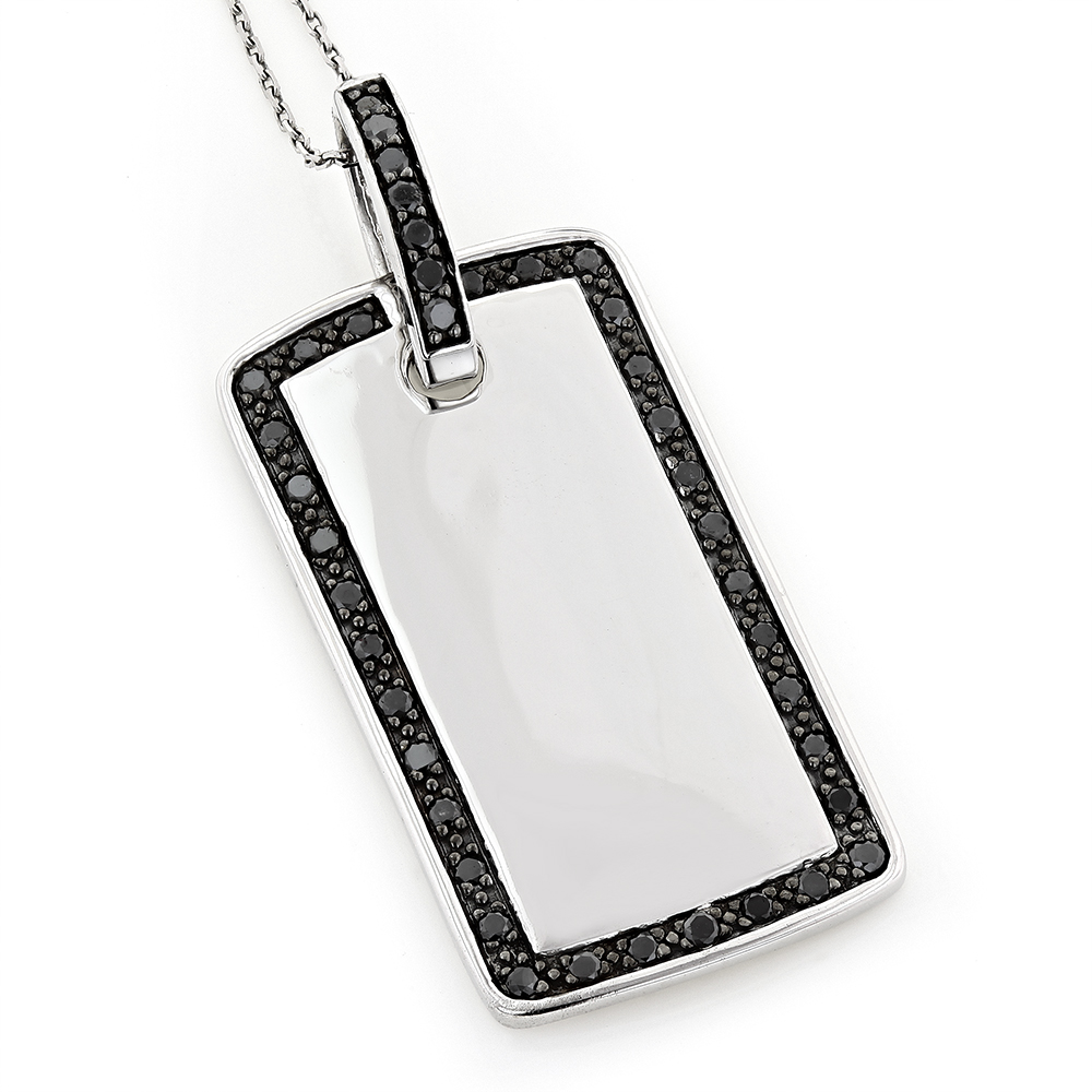 14K Solid Gold Dog Tag Pendant With Black Diamonds 1.10 White Image