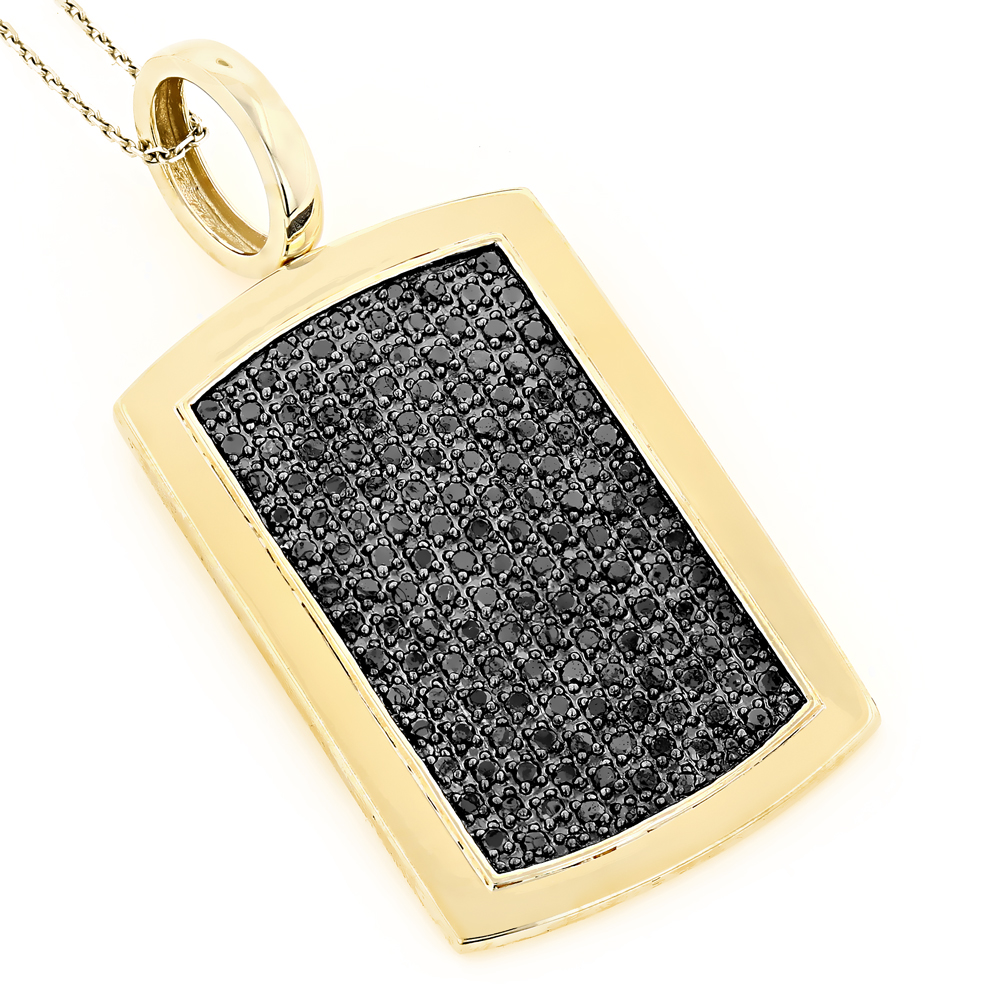 14K Solid Gold Dog Tag Pendant With Black Diamonds 3.25 Yellow Image