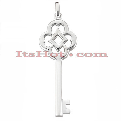 14K Solid Gold Key Pendant Necklace Main Image
