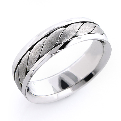 14K Solid Gold Mens Woven Wedding Band