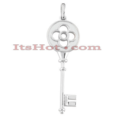 14K Solid White Gold Key Pendant Necklace Main Image