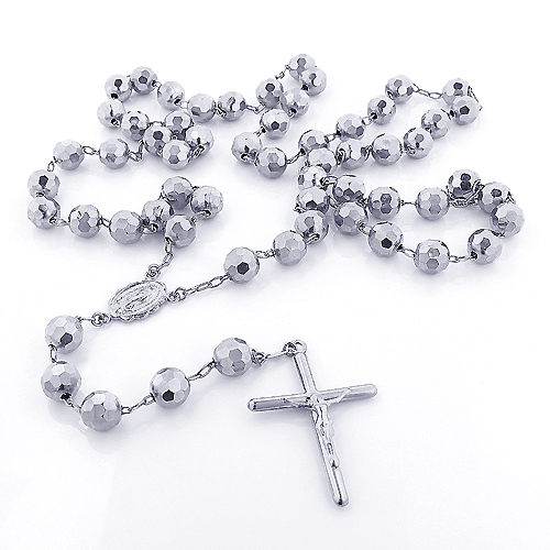 14K Solid White Gold Rosary Beads Necklace 7mm 30in Main Image