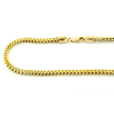 14K Solid Yellow White Gold Franco Chain 30-40in,3.5mm Main Image