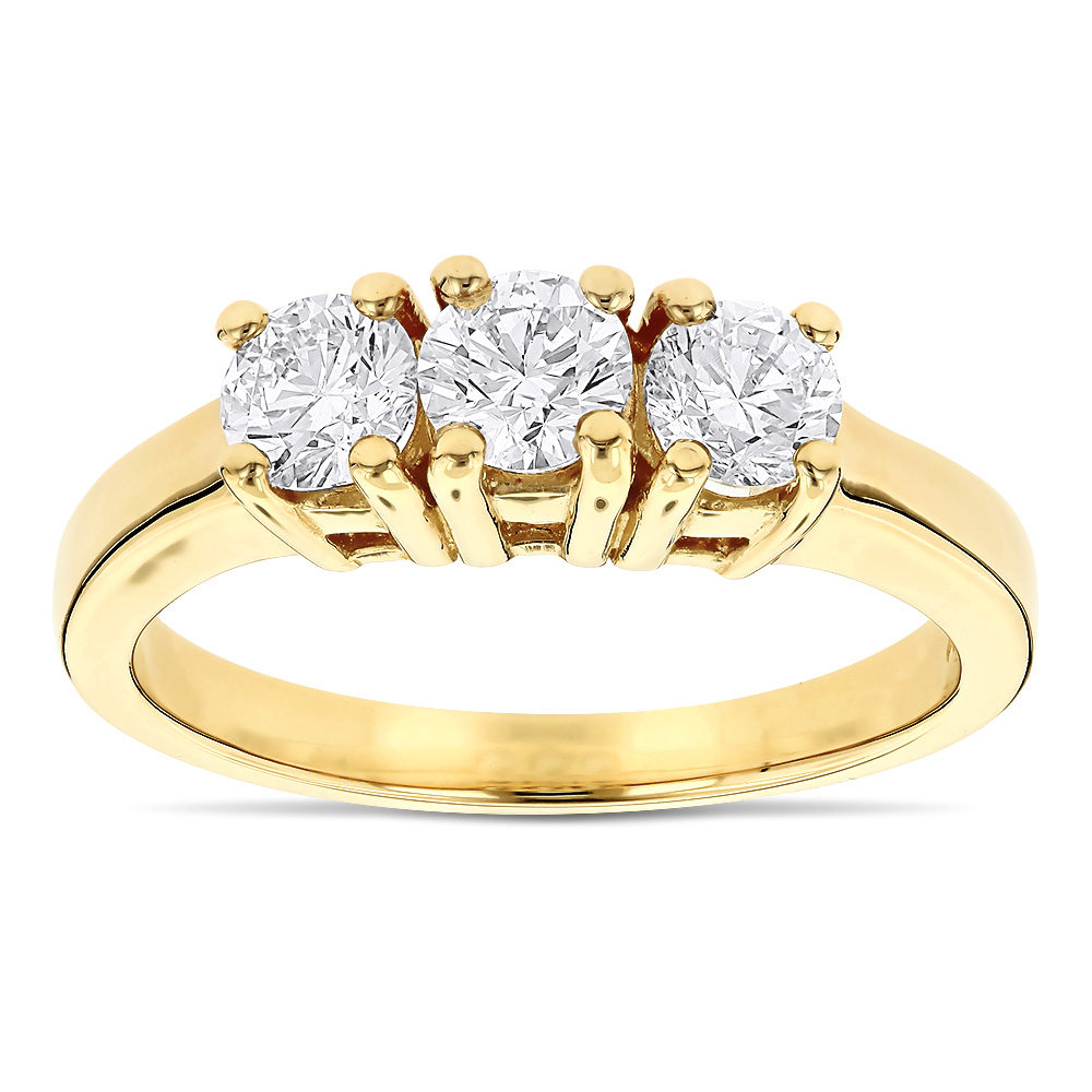 14K Gold Three Stone Diamond Ring Past Present Future 1 Carat Yellow Image