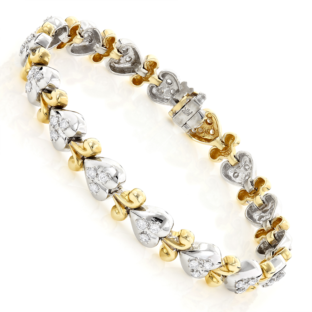 14K Two Tone Gold Heart Bracelet with Diamonds 1.16ct