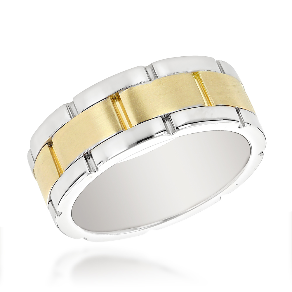 14K Two Tone Gold Mens Wedding Band Comfort Fit Two Tone Image