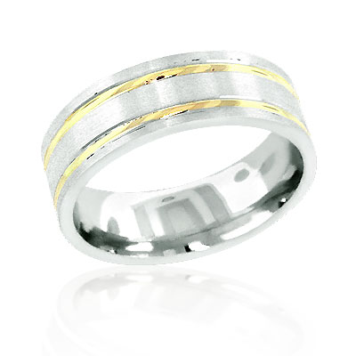 14K Two Tone Gold Mens Wedding Band Ring Main Image