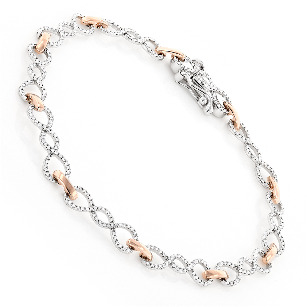 14K Two Tone Gold Round Diamond Bracelet For Women 0.7ct Rose Image