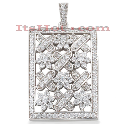 14K Unique Designer Diamond Pendant Flower Motif 5.48 Main Image