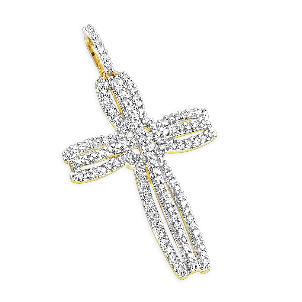 14K Unique Diamond Cross Pendant 0.25 ctw Yellow Image