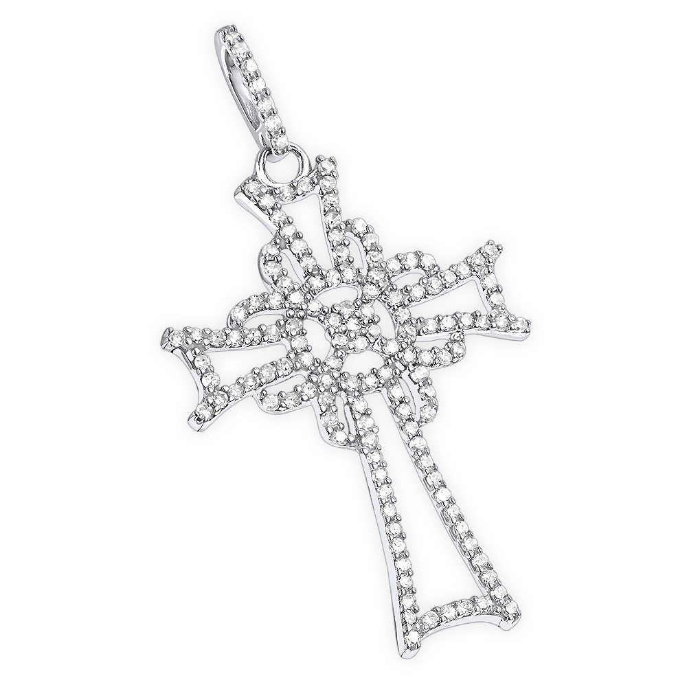 14K Gold Unique Diamond Cross Pendant for Women 0.25ct White Image
