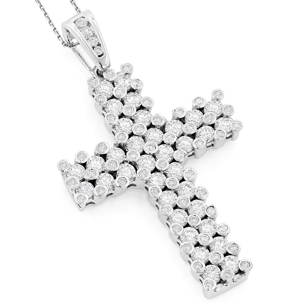 14K Gold Unique Mens Diamond Cross Pendant 7.15ct White Image