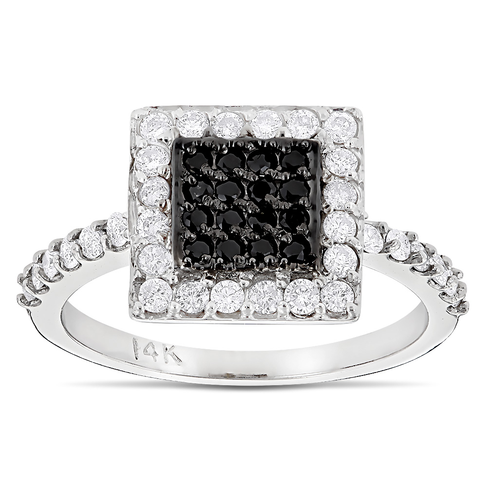 14K Gold White and Black Diamond Ring For Women 0.62ct