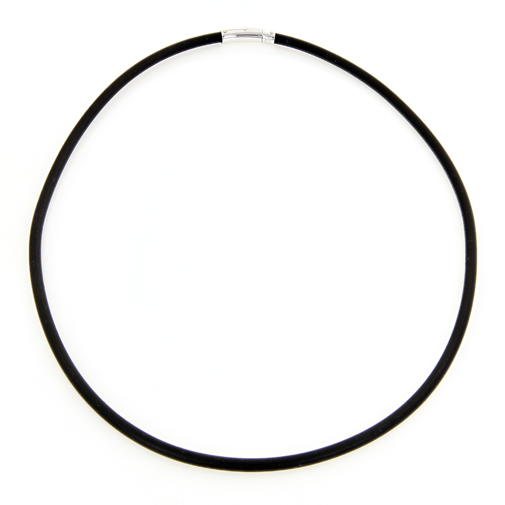 14K White Gold and Rubber Necklace Main Image