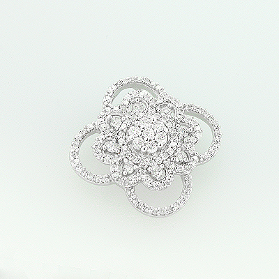 14K White Gold Diamond Flower Pendant 0.58ct Main Image
