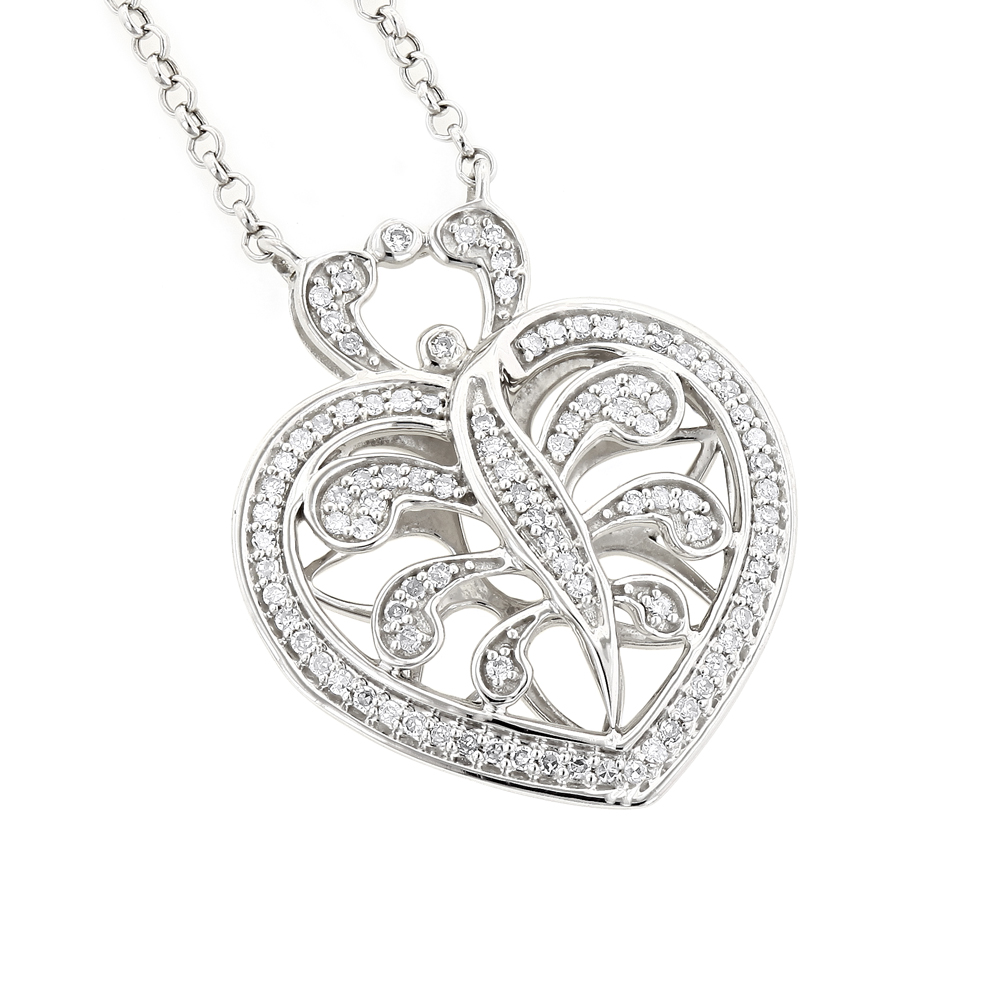 14K White Gold Diamond Heart Pendant Necklace 0.35ct White Image