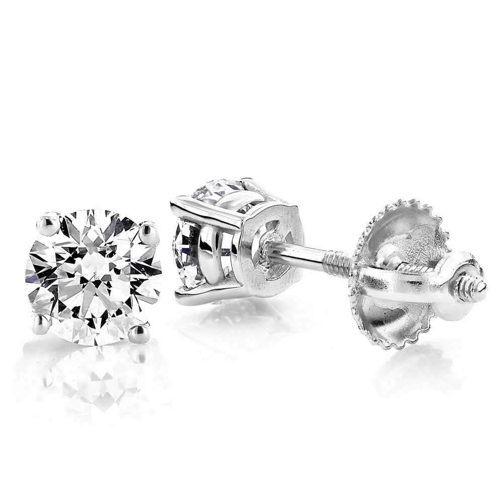 14K White Gold Diamond Stud Earrings Round Cut 1.50ct White Image
