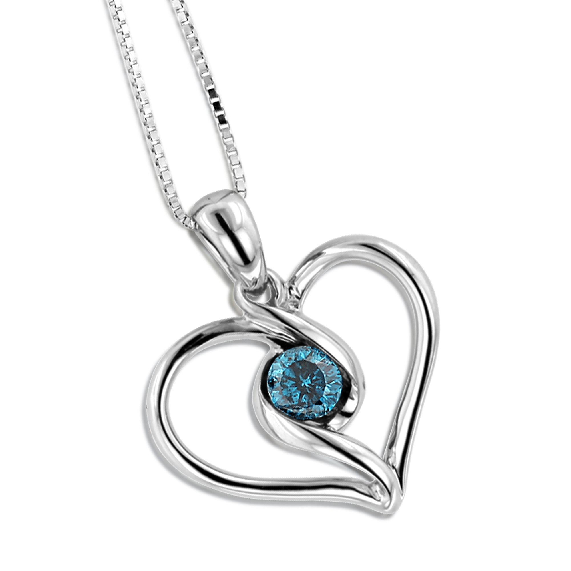 14K White Gold Single Blue Diamond Heart Necklace For Women Pendant Main Image