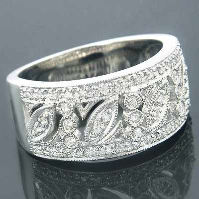 14K White Gold Vintage Style Diamond Ring Floral 0.89ct