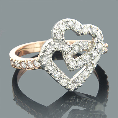 14K White Rose Gold Diamond Heart Ring 0.55ct Main Image