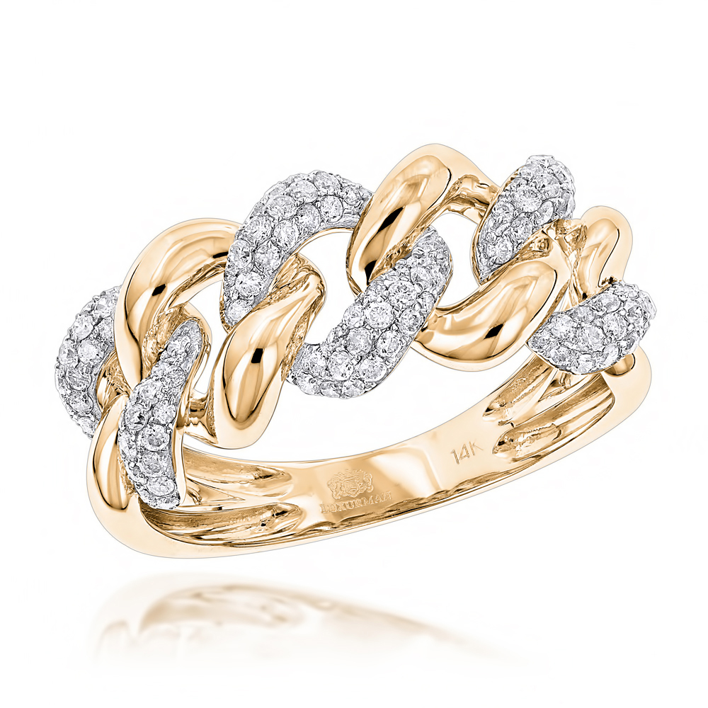 14K White Rose Yellow Gold Diamond Miami Cuban Link Ring Mens by Luxurman Yellow Image