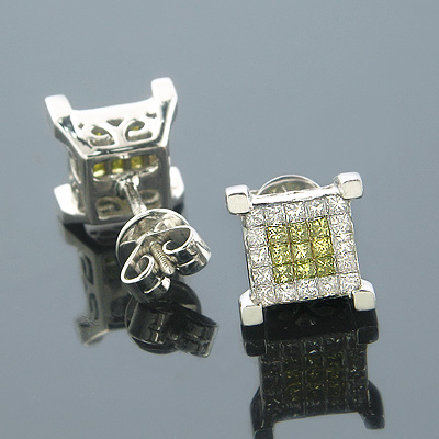 14K White Yellow Diamond Earrings Princess Cut 0.75ct Main Image
