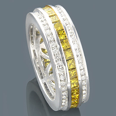 14K White Yellow Diamond Eternity Ring 2.64ct Main Image