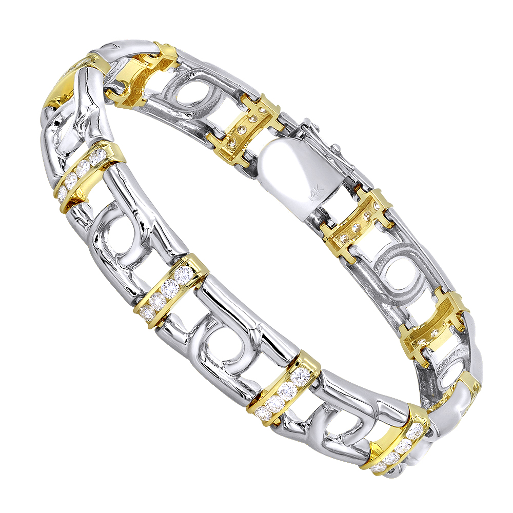 14K White Yellow Gold Mens Diamond Two-Tone Bracelet 4ct Two Tone Image