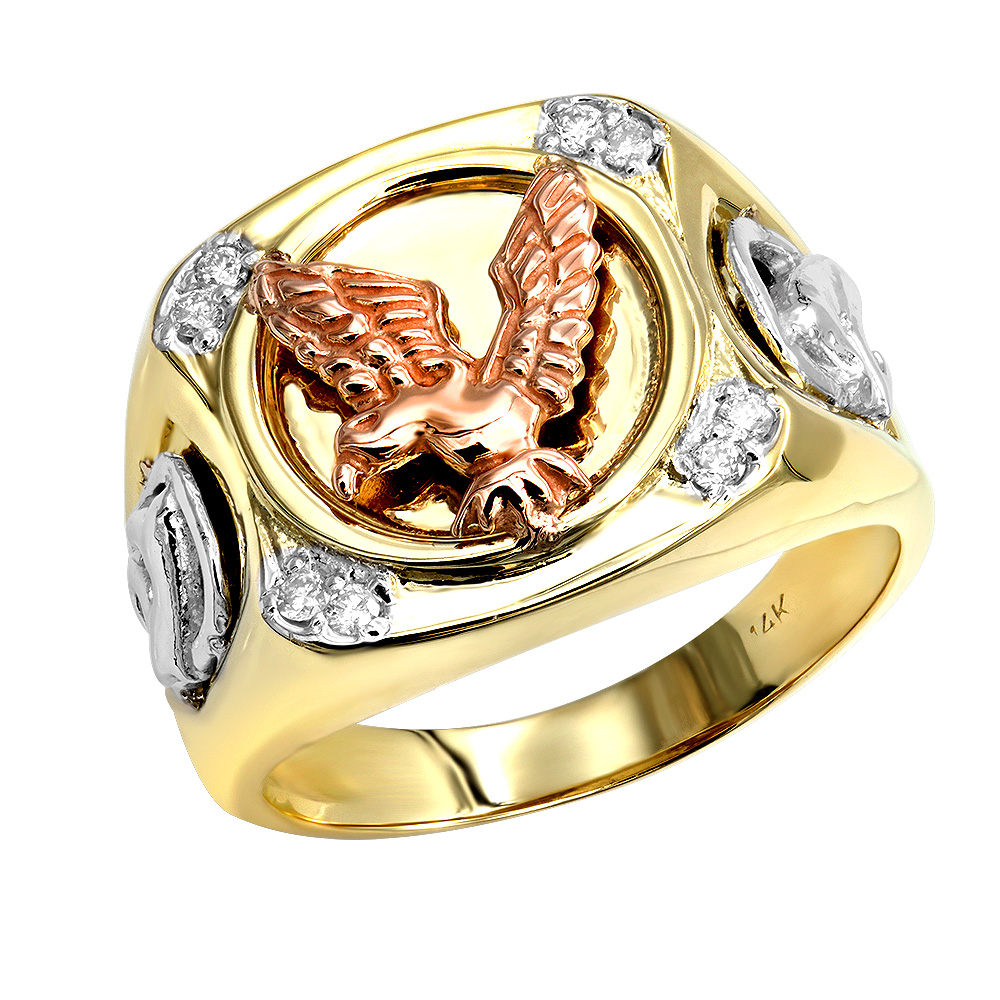14K White Yellow Rose Gold Diamond Mens Eagle Ring 0.10 Yellow Image
