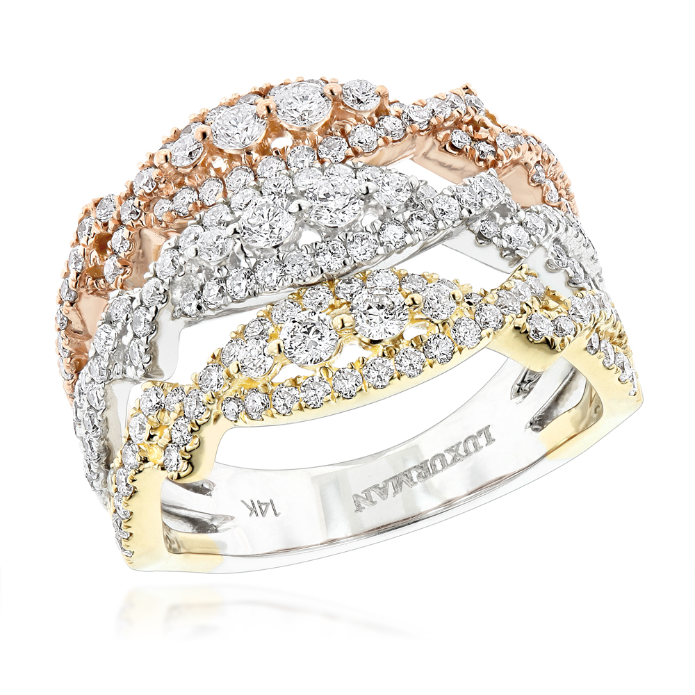14K White Yellow Rose Gold Diamond Stacking Ring for Women 1.6c by Luxurman Main Image