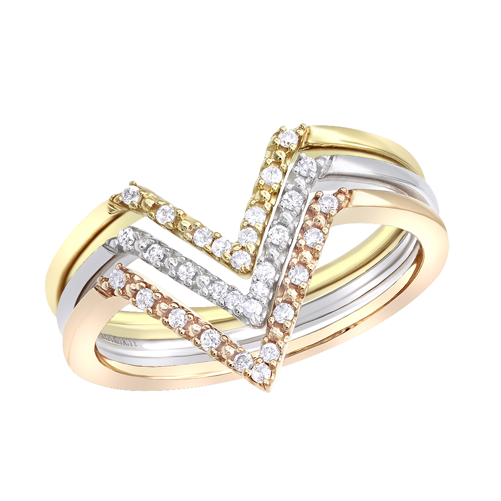 14k White Yellow Rose Gold Thin Stackable Diamond Rings Set 0.15ct Luxurman Bands Main Image
