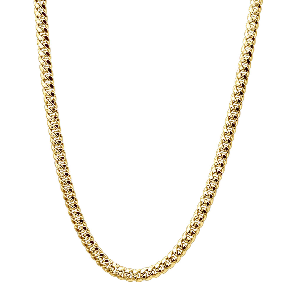 Mens 14K Yellow Gold Miami Cuban Link Curb Chain 8mm Wide 22in-40in Long Yellow Image