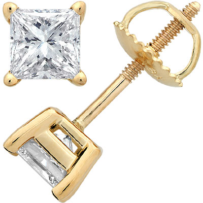 14K Yellow Gold Princess-Cut Diamond Stud Earrings 1.5c Main Image