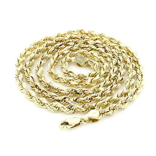 Mens Solid 14K Yellow Gold Rope Chain by Luxurman 5mm 22-30in Main Image