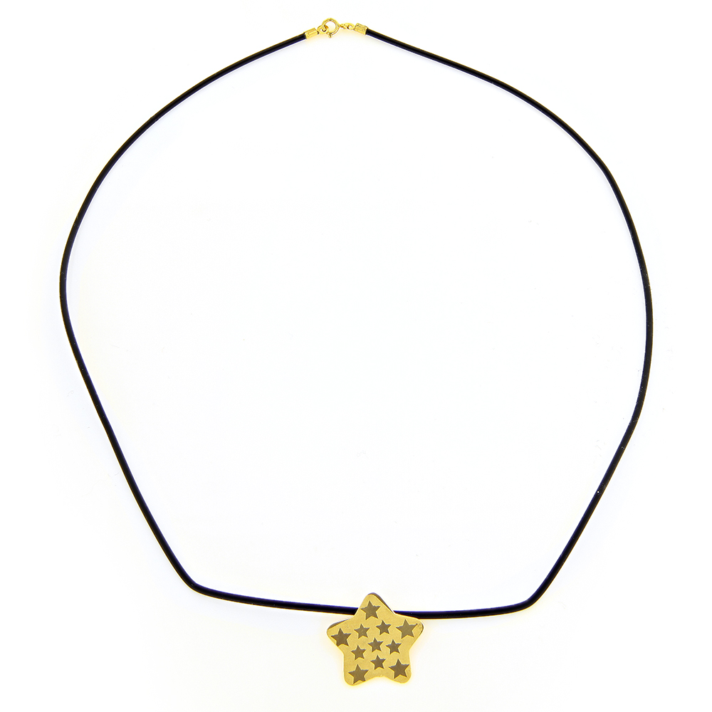 14K Yellow Gold Star Rubber Necklace Main Image