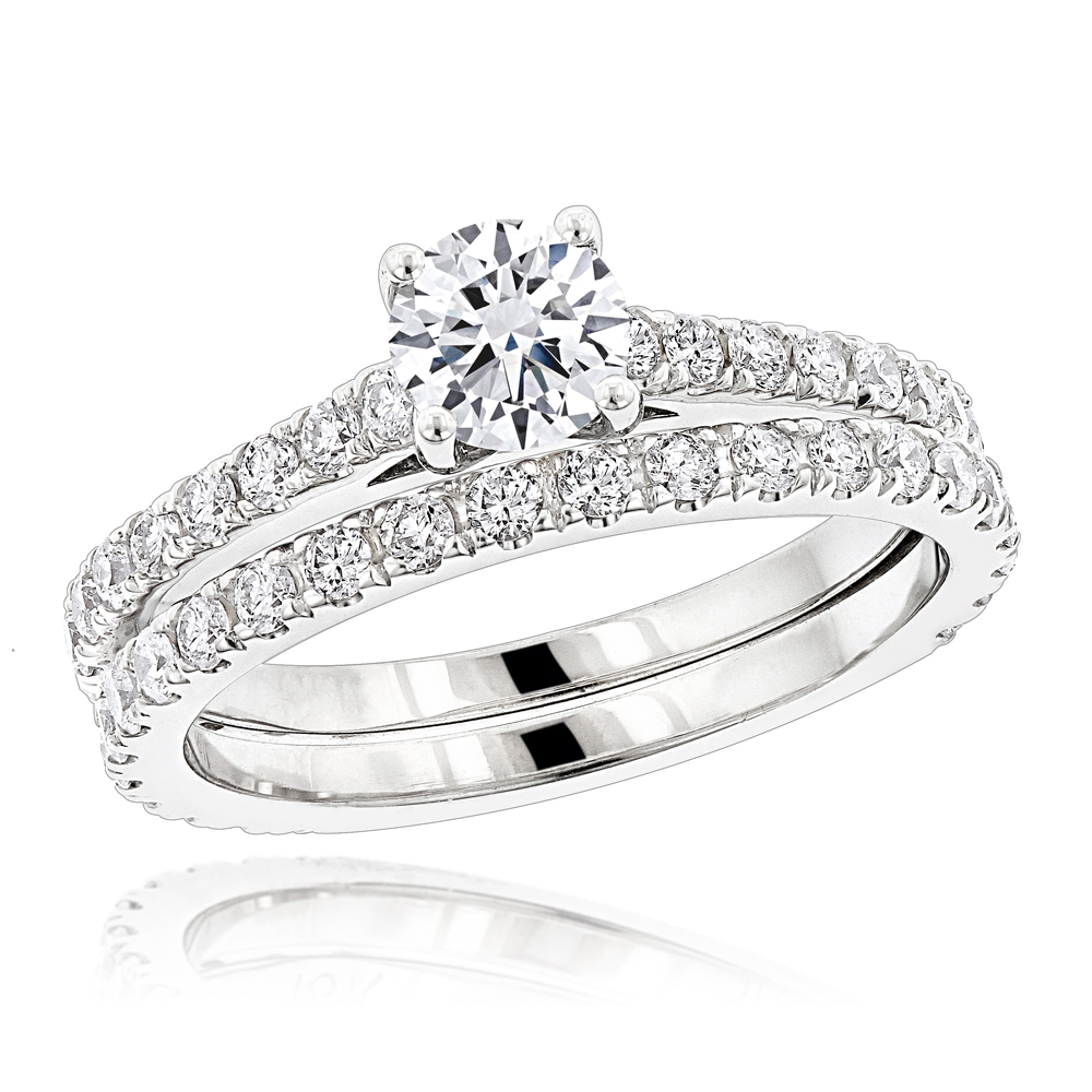 1.5 Carat Round Diamond Engagement Ring and Wedding Band Set in 18k Gold White Image