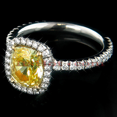 1.51ct Yellow Cushion Diamond Engagement Ring Platinum Main Image