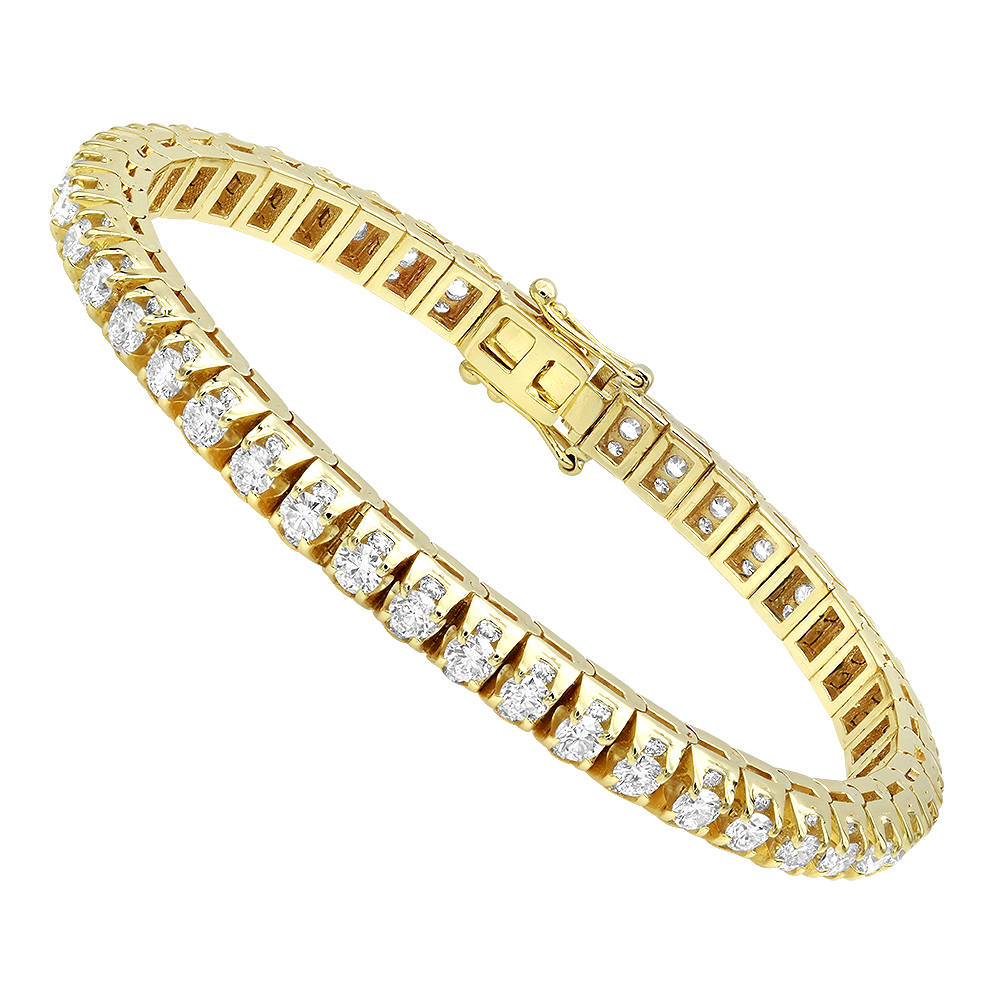 11 Carat Diamond Tennis Bracelet For Men & Women 14k Gold by Luxurman Yellow Image