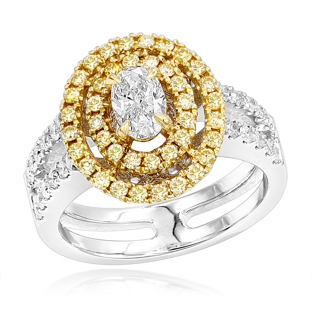 Unique 18K 2 Tone Gold Oval Diamond Engagement Ring White & Yellow Diamonds White Image