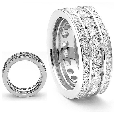 18K Contemporary Style Diamond Eternity Ring 3.12ct
