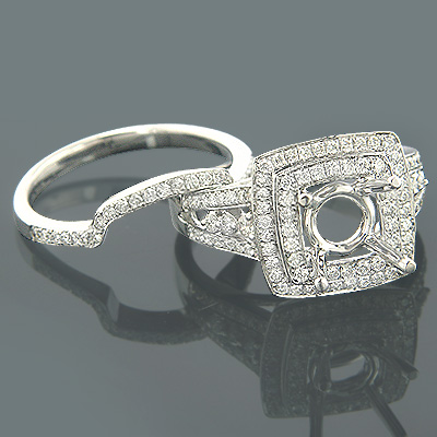 18K Gold Art Deco Diamond Bridal Ring Set Designer 0.95 Main Image