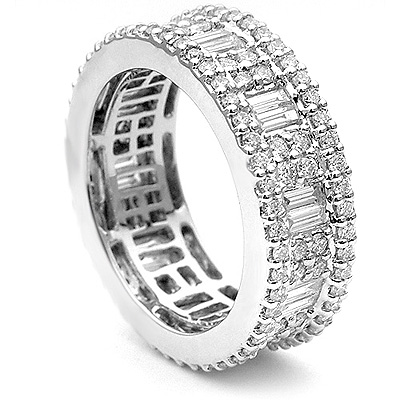 18K Gold Art Deco Style Diamond Eternity Ring 2.82ct Main Image