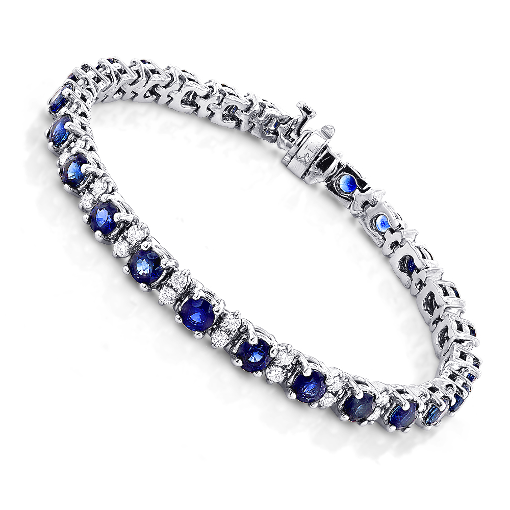 18K Gold Blue Sapphire Diamond Tennis Bracelet For Women 3.76ct 18k-gold-blue-sapphire-diamond-tennis-bracelet-for-women-376ct_1