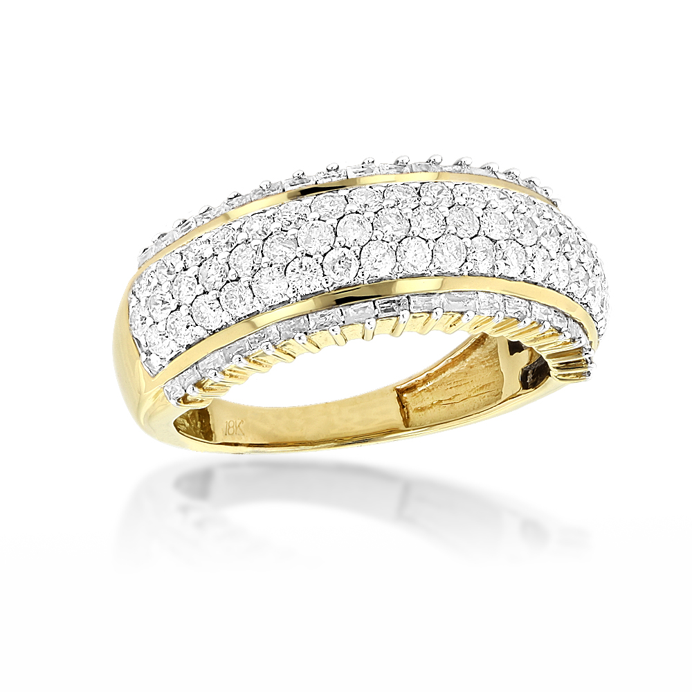 18K Gold Designer Diamond Band Round Baguette 2.34ct Yellow Image