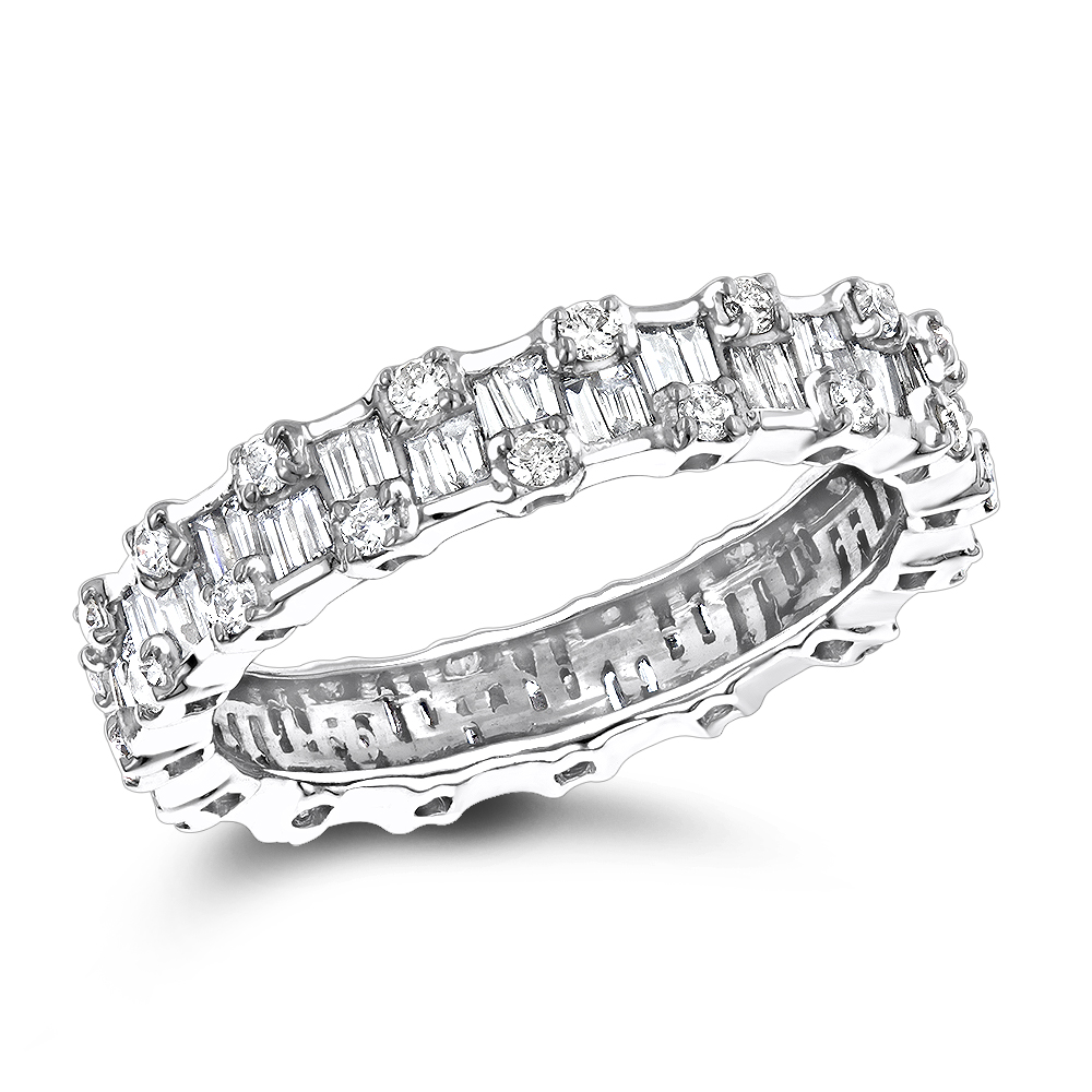 Thin 18K Gold Designer Diamond Eternity Ring 1.29ct White Image