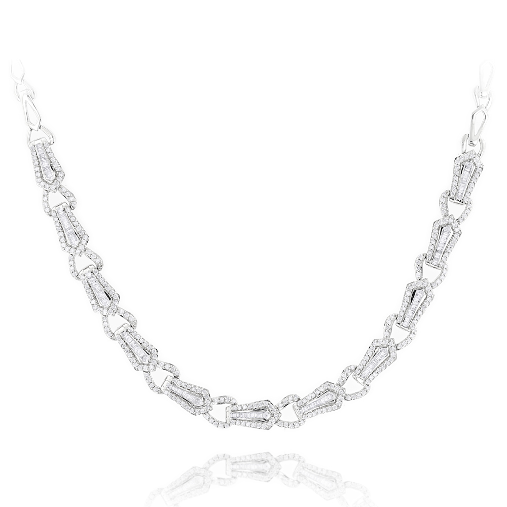 18K Gold Designer Diamond Necklace for Women Baguette Round 3.71