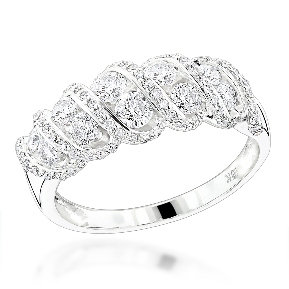 18K Gold Designer Womens Diamond Rings Collection Item 1.5ct White Image